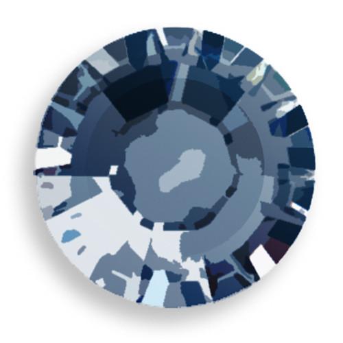 Swarovski 2028 8ss(~2.45mm) Xilion Flatback Crystal Metallic Blue  Hot Fix
