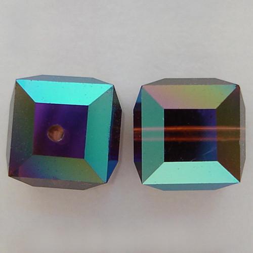 Swarovski 5601 8mm Cube Beads Burgundy AB