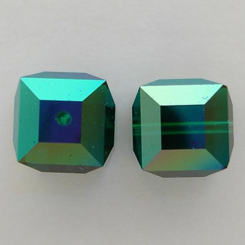 Swarovski 5601 6mm Cube Beads Emerald AB