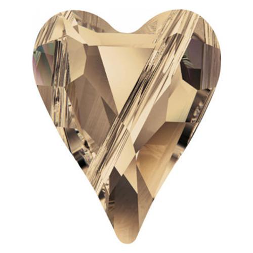 Swarovski 5743 17mm Wild Heart Beads Crystal Golden Shadow