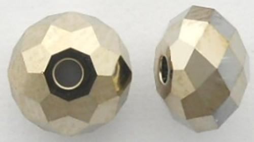 Swarovski 5040 8mm Rondelle Beads Crystal Metallic Light Gold 2X