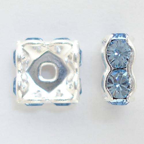 On Sale: Swarovski 5920 4mm Squaredelles Silver Light Sapphire (12 pieces)