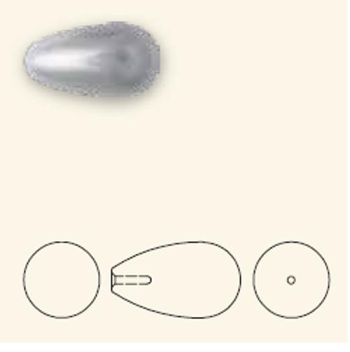 Swarovski 5816 15mm Teardrop Pearls Light Grey (100  pieces)