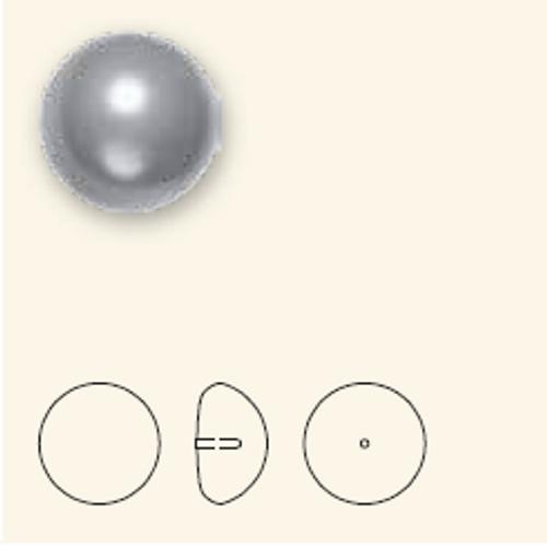 Swarovski 5817 16mm Half-Dome Pearls Grey (100  pieces)