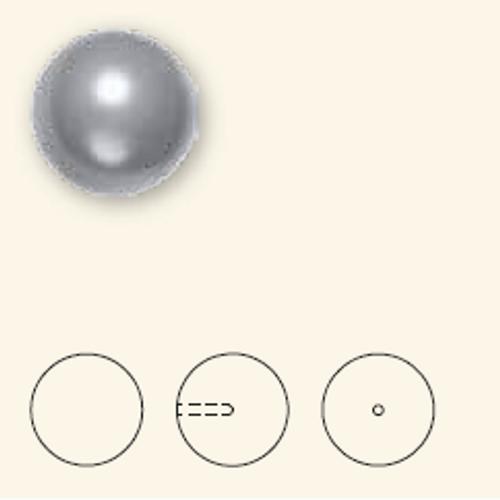Swarovski 5818 8mm Half-Drilled Pearls Dark Grey (250  pieces)
