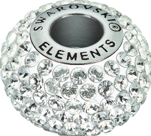 Swarovski 80101 14mm BeCharmed Pavé Beads with Crystal Chatons on White base (12 pieces)