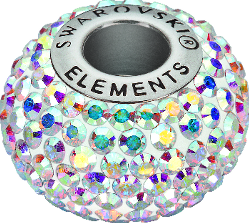 Swarovski 80101 14mm BeCharmed Pavé Beads with Crystal AB Chatons on White base (12 pieces). The AB coating, which stands for Aurora Borealis, adds a highly iridescent effect over half of the Swarovski BeCharmed Pave Bead with Crystal AB Chatons that increases the brilliance and shine with shimmering tints of yellow, pink and blue sparkle. Swarovski Crystal Beads express exquisite elegance, perfection and grandeur. Stylish and sophisticated, SWAROVSKI ELEMENTS highlight an impeccable legacy of distinction and innovation.