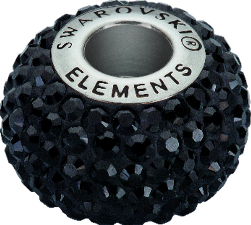 Swarovski 80101 14mm BeCharmed Pavé Beads with Jet Chatons on Black base (12 pieces)