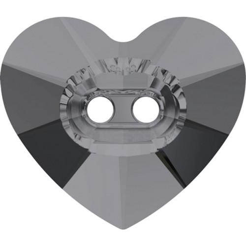 Swarovski 3023 16mm Heart Button Crystal Silver Night ( 72 pieces)