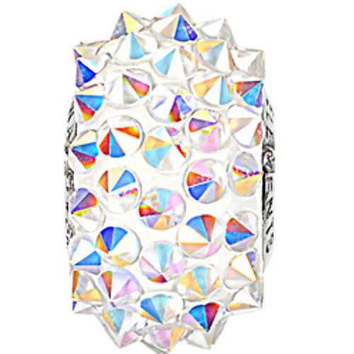 Swarovski 80401 16mm BeCharmed Pavé Spikes Beads with Crystal AB Stones on White base (12 pieces)