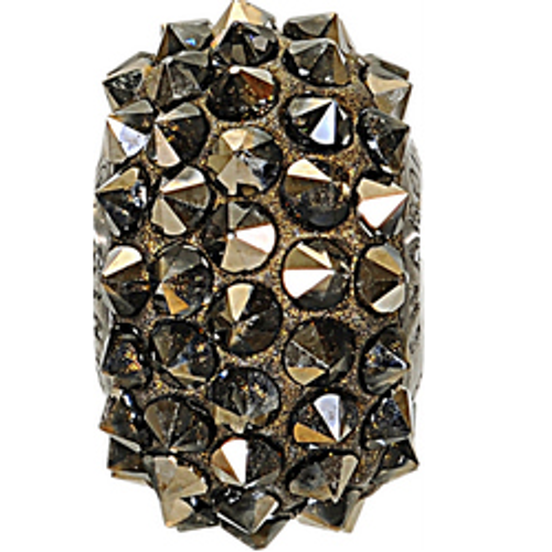 Swarovski 80401 16mm BeCharmed Pavé Spikes Beads with Crystal Metallic Gold Stones on Metallic Gold base (12 pieces)