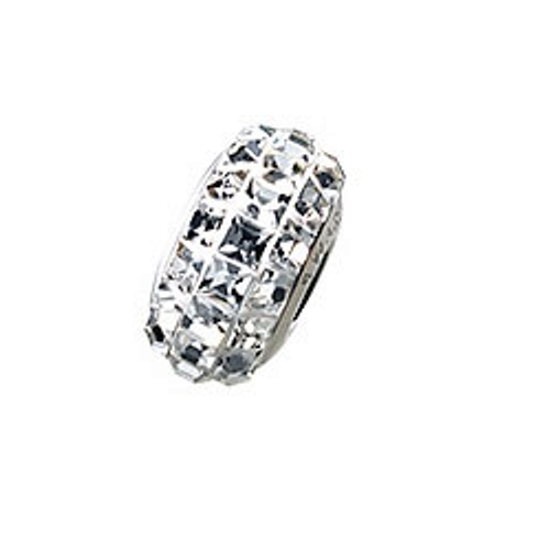 Swarovski 81201 13mm BeCharmed Pavé Slim Beads with Black Diamond Stones on Silver base (12 pieces)