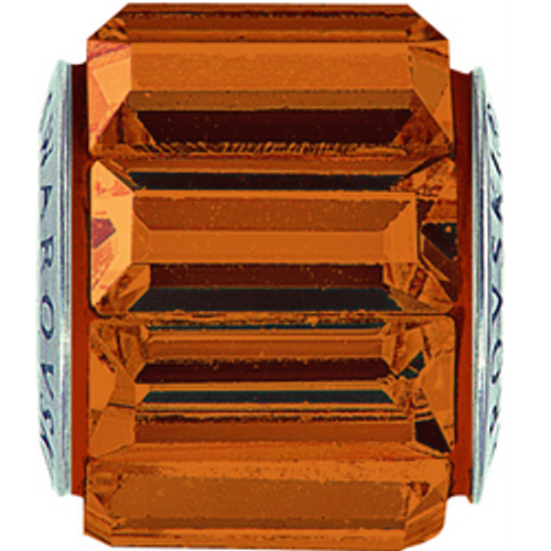 Swarovski 80301 10.5mm BeCharmed Pavé Spikes Beads with Smoked Topaz Baguette Fancy Stones on Umber base (12 pieces)