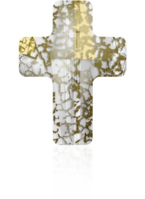 Swarovski 5378 14mm Cross Beads Crystal Gold Patina