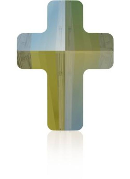 Swarovski 5378 14mm Cross Beads Crystal Iridescent Green