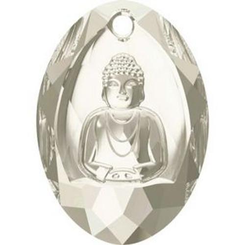 Swarovski 6871 28mm Buddha Pendants Crystal Silver Shade