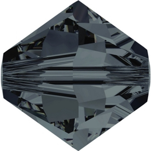 Swarovski 5328 6mm Graphite Xilion Bicone Beads . Graphite brings a dark and strong, bluish gray-black tone to the palette that features an entirely homogenous surface, rendering it ideal for creating graduated transitions between Crystal Silver Night and Jet.  . Swarovski Crystal is the finest quality precision-cut crystal in the world. Fashionable and sophisticated styles are infused with rich colors and lavish coatings. SWAROVSKI ELEMENTS are essential in creating captivating jewelry designs of exceptional radiance and quality.