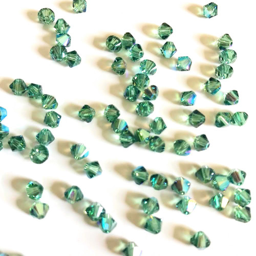 Swarovski 5328 4mm Xilion Bicone Beads Erinite Shimmer (72 pieces)