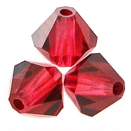 Swarovski 5328 4mm Xilion Bicone Beads Ruby Satin
