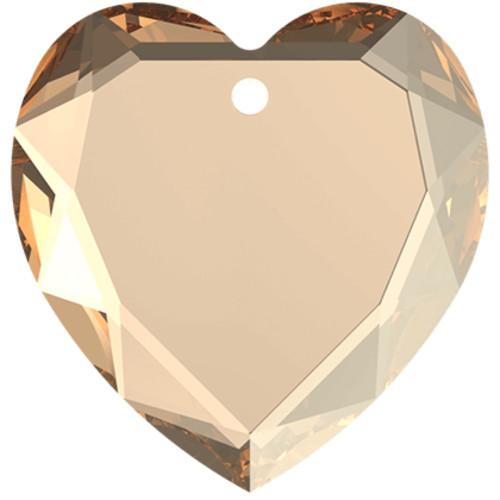 On Hand: Swarovski 6225 10mm Flat Heart Pendant Crystal Golden Shadow (6  pieces)