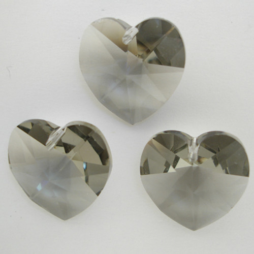 On Hand: Swarovski 6228 10mm Xilion Heart Pendants Black Diamond  (18 pieces)