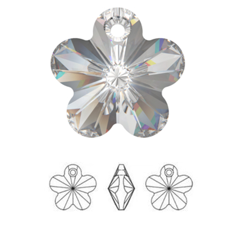 On Hand: Swarovski 6744 12mm Flower Pendant Crystal AB (6  pieces)