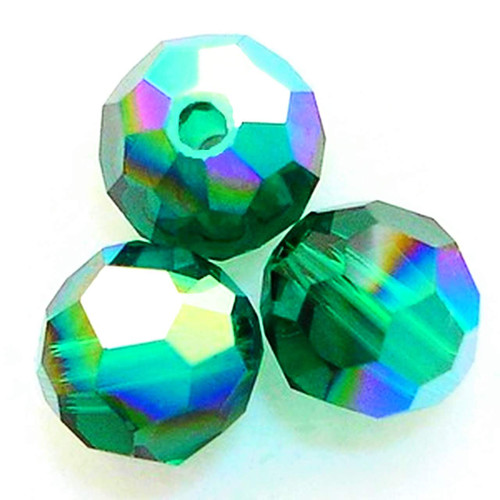 On Hand: Swarovski 5000 4mm Round Beads Emerald AB  (72 pieces)