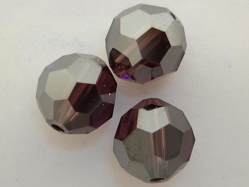 On Hand: Swarovski 5000 8mm Round Beads Amethyst Satin  (12 pieces)