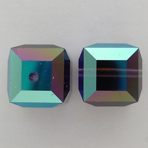 Swarovski 5601 8mm Cube Beads Purple Velvet AB