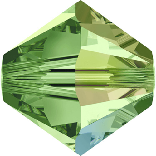 Peridot is the August birthstone color, a vibrant green tone that is one of the most popular greens available and is lighter than Emerald and darker than Chrysolite. The Shimmer Effect adds a soft light bluish and yellowish sparkle to half of the bead that is less intense than the AB coating, creating an elegant shimmering appearance.