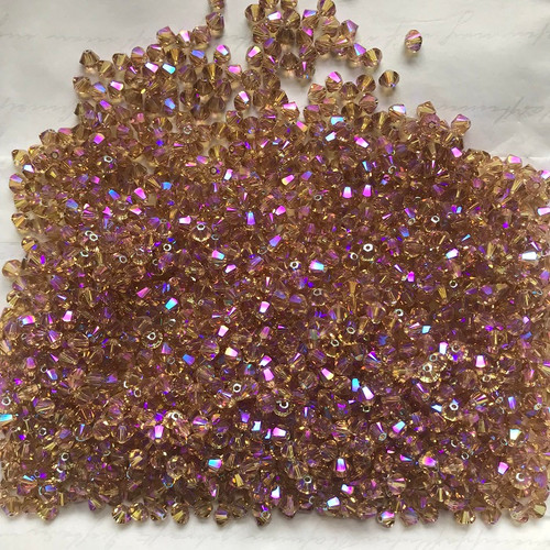 On Hand: Swarovski 5328 4mm Xilion Bicone Beads Light Colorado Topaz Shimmer 2X(72  pieces)