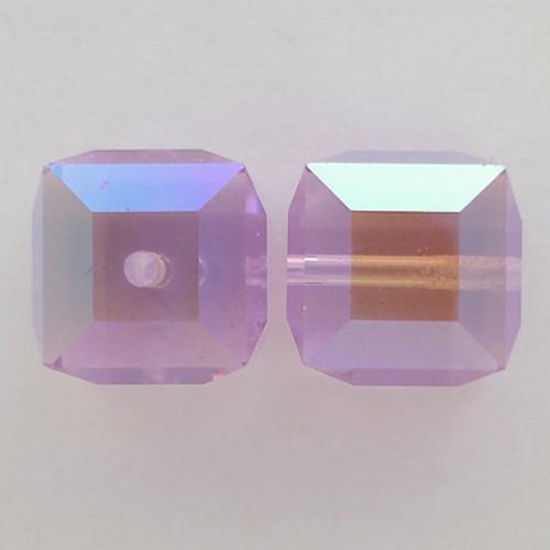 Swarovski 5601 4mm Cube Beads Violet AB