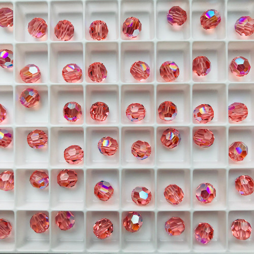 On Hand: Swarovski 5000 6mm Round Beads Rose Peach Shimmer (36 pieces)