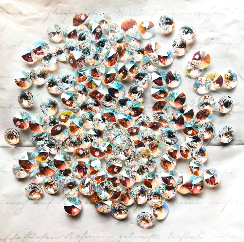 On Hand: Swarovski 6428 8mm Wheel Pendants Crystal Shimmer (18 pieces)
