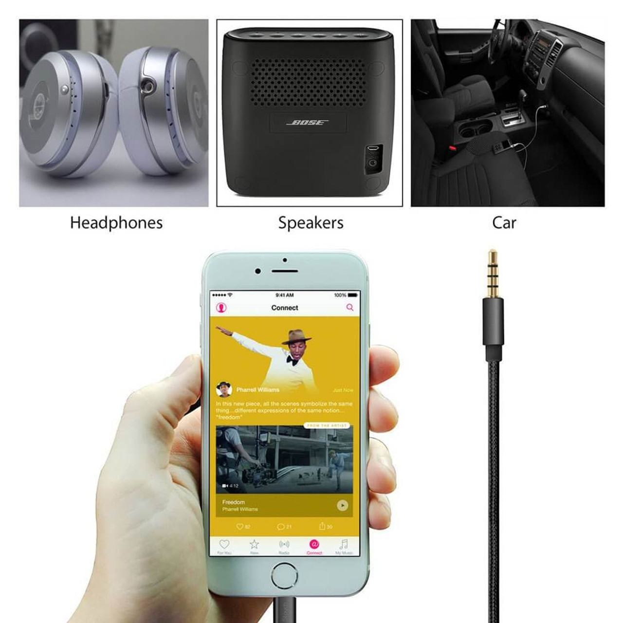 new product ea211 6423b 3.5 mm to Lightning Aux Adapter for iPhone 7 and above