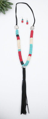 Black Leather Beaded Necklace and Earring set with Tassel detail