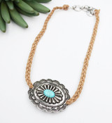 Braided Leather Choker Necklace - Turquoise Concho