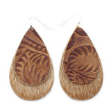 Double Drop Leather Earrings - Tooled Brown Over Tan Hide