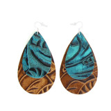 Double Drop Leather Earrings - Tooled Blue Over Tooled Brown