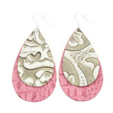 Double Drop Leather Earrings - Tooled Grey Over Pink Alligator