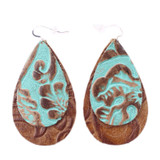 Double Drop Leather Earrings - Tooled Turquoise Over Tooled Brown