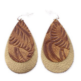 Double Drop Leather Earrings - Tooled Brown Over Gold Foil