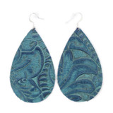 Drop Leather Earrings - Tooled Blue