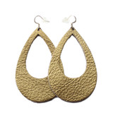 Eclipse Leather Earrings - Gold Foil