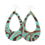 Eclipse Leather Earrings - Tooled Turquoise