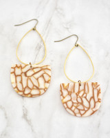 Emmy Earrings - Copper & White on marble background