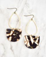 Emmy Earrings - Copper & Black on marble background