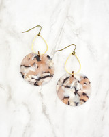 Etch Earrings - Peach on marble background