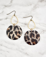 Etch Earrings - Leopard on marble background