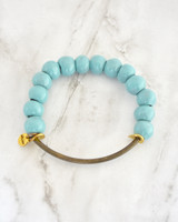 Buffy Clay Bracelet - Turquoise on marble background